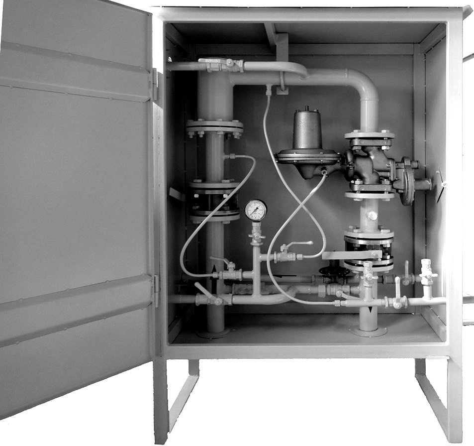 Пункт учета и редуцирования газа ПУРДГ с одной линией редуцирования и байпасом